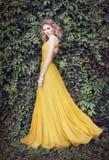 Vrouw in gouden kleding, in aard stock foto's