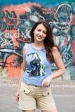 Vrouw. graffiti muur Royalty-vrije Stock Afbeeldingen