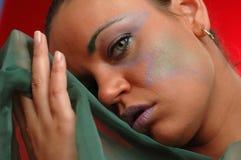 Vrouw in groen Stock Foto