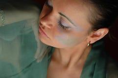 Vrouw in groen Royalty-vrije Stock Afbeelding