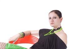 Vrouw in groen Royalty-vrije Stock Foto