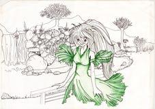 vrouw in groen natuurlijk landschap Royalty-vrije Stock Fotografie