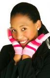 Vrouw in handschoenen royalty-vrije stock foto's