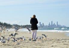 Vrouw het alleen die lopen op strand door troepzeevogels & het verre stadsleven wordt omringd Royalty-vrije Stock Foto