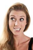 Vrouw het benieuwd zijn Bijtende lippen Stock Foto's