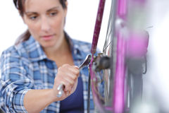 Vrouw het bevestigen toestel op fiets Stock Fotografie