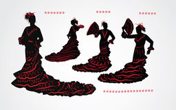 Vrouw het dansen flamenco Reeks zwarte en rode silhouetten Royalty-vrije Stock Afbeeldingen
