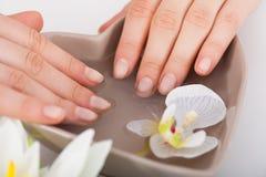 Vrouw het Doorweken dient Water bij Schoonheidssalon in stock fotografie