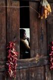 Vrouw in het dorp van Bingzhongluo, Yunnan, China stock foto