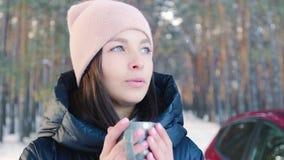 Vrouw het drinken thee in het concept van de de winter boswinter stock video
