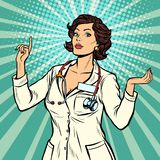 Vrouw het gebaar van de artsenpresentatie vector illustratie
