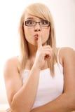 Vrouw het gesturing Stock Afbeeldingen