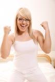 Vrouw het gesturing Stock Foto