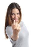 Vrouw het gesturing komt hier roepend u Royalty-vrije Stock Foto