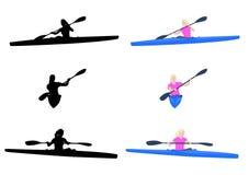 Vrouw het kayaking Stock Afbeeldingen