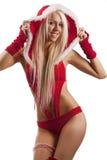 Vrouw in het kostuum van de Kerstman stock foto