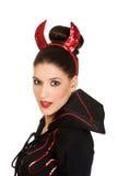 Vrouw in het kostuum van duivelscarnaval Stock Afbeeldingen