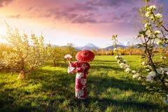 Vrouw in het kostuum van Japan bij kersenbloesem Stock Fotografie