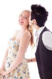 Vrouw het kussen aan haar lesbische partner Stock Foto's