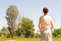 Vrouw het Letten op aan de Bomen stock foto