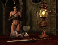 Vrouw in het licht van een olielamp stock illustratie