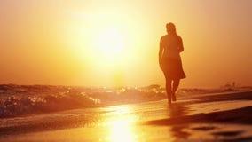 Vrouw het lopen op strand blootvoets bij zonsondergang in langzame motie en vogel vliegt boven het overzees 1920x1080 stock video