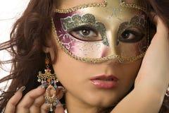 Vrouw in het masker Stock Foto's