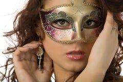 Vrouw in het masker Stock Foto