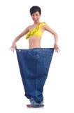 Vrouw in het op dieet zijn concept Stock Foto's