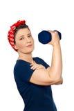 Vrouw het opheffen geïsoleerd gewicht rosie Stock Foto
