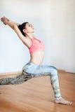 Vrouw het praktizeren de yoga, tribune in yoga stelt, concept van de Sport het actieve levensstijl Stock Afbeeldingen