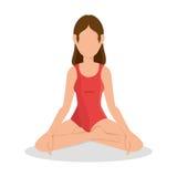 Vrouw het praktizeren yogapictogram royalty-vrije illustratie