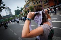 Vrouw in het protest Royalty-vrije Stock Afbeeldingen