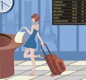 Vrouw het reizen Stock Afbeelding