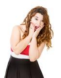 Vrouw in het rode kleding unbelieving stock afbeelding