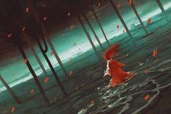 Vrouw in het rode lopen op moerasmeer stock illustratie