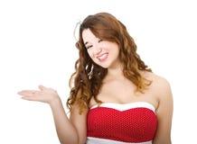 Vrouw in het rode tonen stock foto