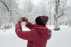 Vrouw het schieten stock fotografie