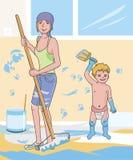 Vrouw het schilderen huisvloer Stock Afbeeldingen