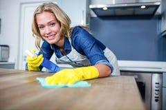 Vrouw het schoonmaken Royalty-vrije Stock Fotografie