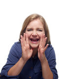 Vrouw het schreeuwen Stock Foto's