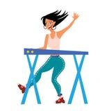 Vrouw het spelen op synthesizer Vrouwelijke musicus De vrouwelijke Vectorillustratie van musicuskeyboardist, op wit vector illustratie