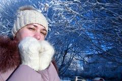 Vrouw het stellen in de winterpark Royalty-vrije Stock Fotografie