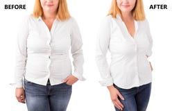 Vrouw het stellen before and after succesvol dieet royalty-vrije stock fotografie
