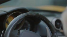 Vrouw het strijken stuurwiel van de auto stock video