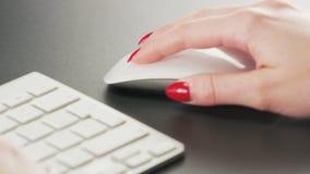 Vrouw het Typen op een Toetsenbord en het Gebruiken van Muis stock video