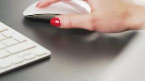 Vrouw het Typen op een Toetsenbord en het Gebruiken van Muis stock videobeelden