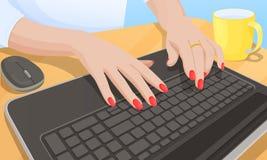 Vrouw het Typen op Toetsenbord, Vectorillustratie stock illustratie