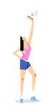 Vrouw het uitrekken zich in de lucht voor een beter mobiel telefoonsignaal Royalty-vrije Stock Foto's