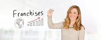 Vrouw het Verkopen Concessies stock foto's